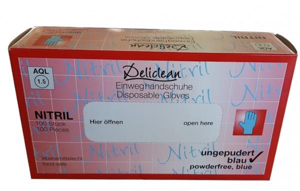 Nitril-Handschuhe Deliclean puderfrei blau L