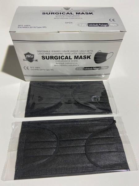 Atemschutzmasken MKW (einzeln verpackt) Typ IIR à 50 Stk. schwarz