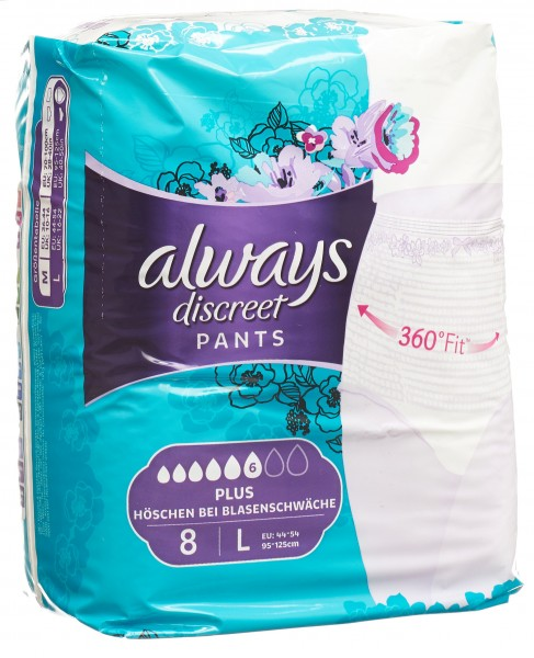 ALWAYS Discreet Inkontinenz Pants L Plus 8 Stk